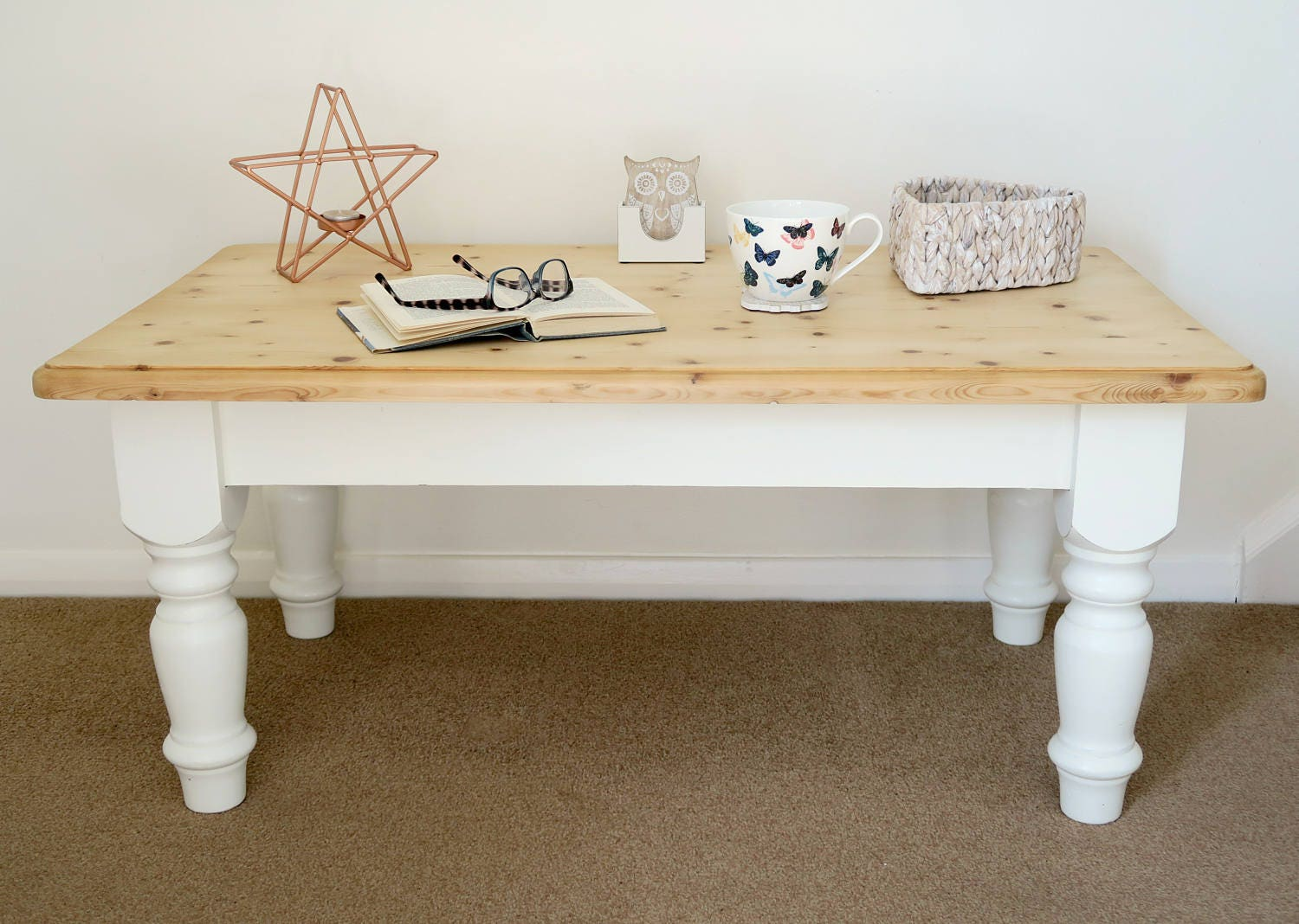 Upcycled Furniture Coffee Table Painted Coffee Table Solid Pine Home Decor Shabby Chic Table Distressed Furniture Natural Wood