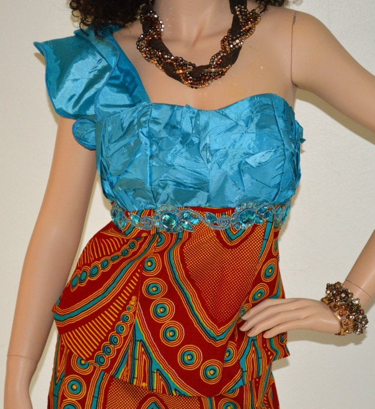 Satin and African Print One Shoulder elegant outfit