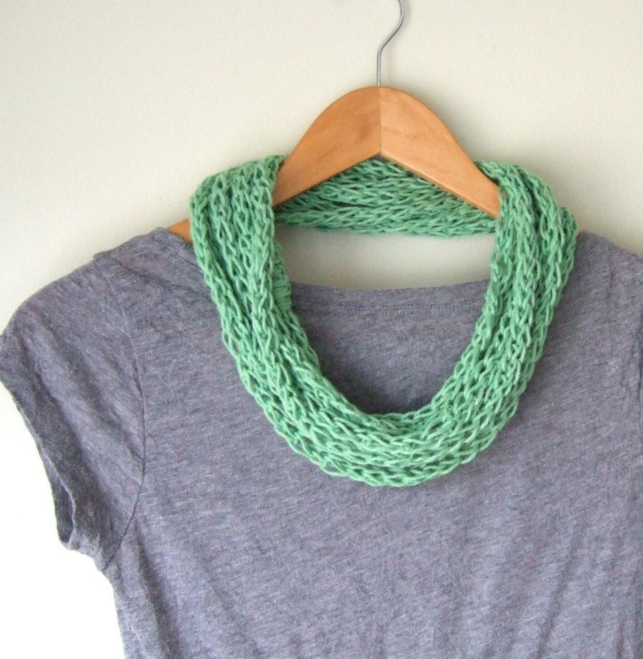 Lightweight Scarf .. EcoFriendly Infinity Scarf .. Hemp Necklace .. Cotton Scarf .. Scarf Necklace .. Eternity Scarf .. Green Scarf Infinity - DottieQ