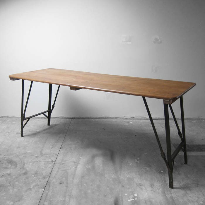 Folding 1940s Trestle Table Industrial Metal Legs  Waxed Pine Top