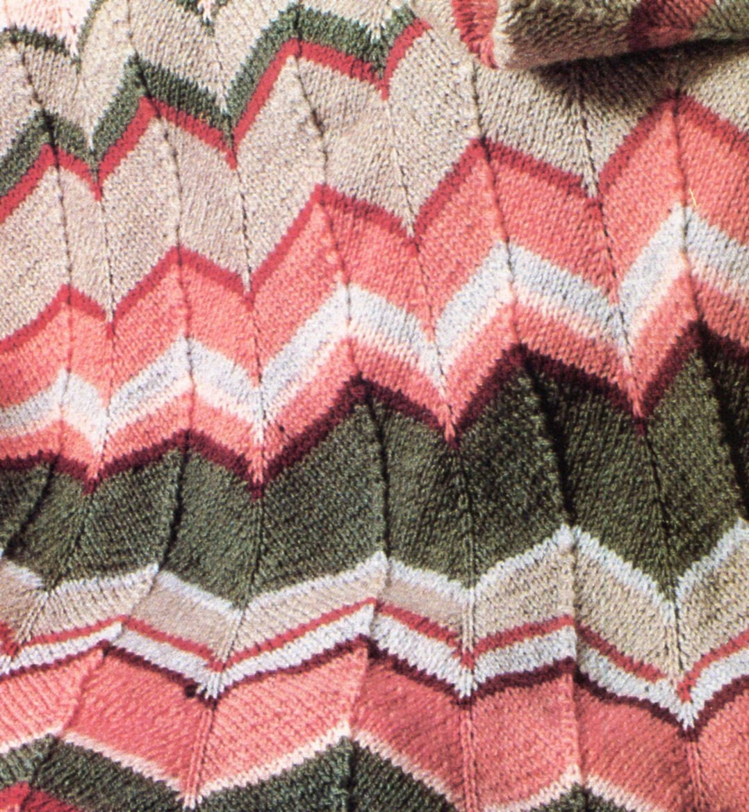 Chevron Afghan Pattern Knit : Classic 1970s Chevron Blanket Knit PATTERN by PearlShoreCat