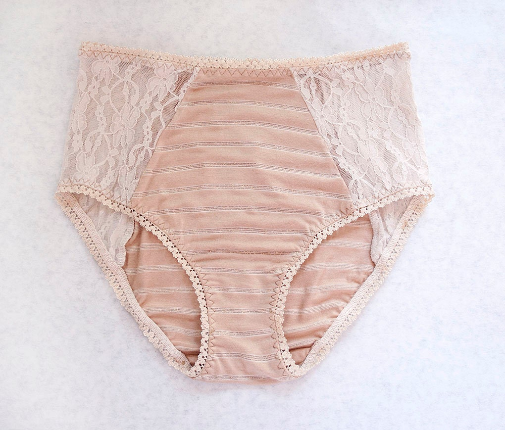 BEAUTIFUL BEIGE. Skin Tone High Panties. Pale Nude Color Cotton Blend with Floral Lace. Unique Bohemian Lingerie - TatianasThreads