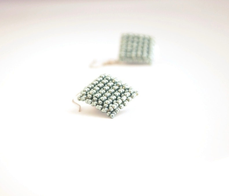 Minimal Earrings in Moss Green, Metallic Green Earrings, Square Beaded Earrings, Minimalist Style, Geometric Earrings - JPJbeaded