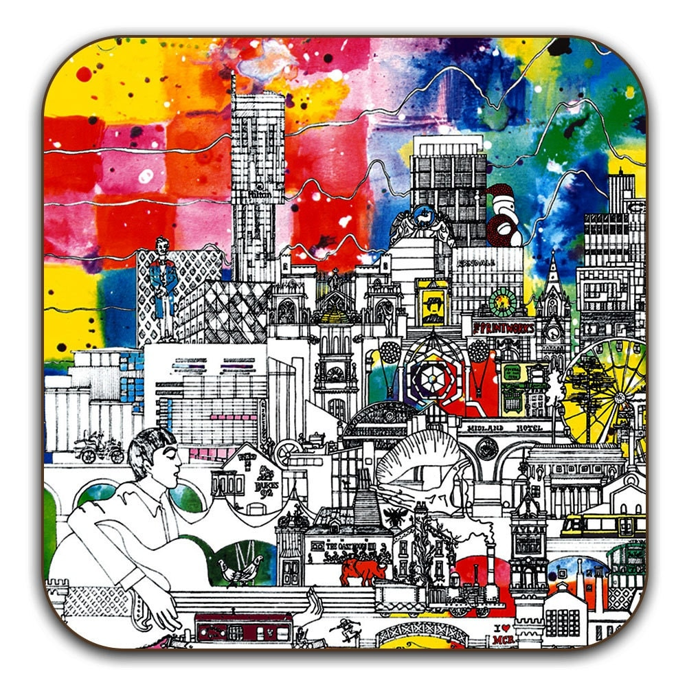 Set of 2 Drinks Coasters  A Vivid Manchester Skyline.