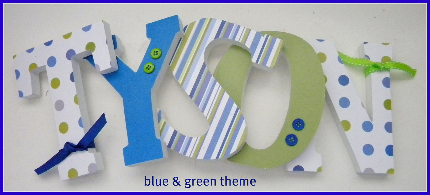 Wooden letters for nursery blue and green theme by for Baby name letters decoration