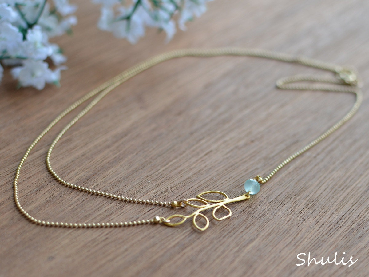 Asyemmetric Gold Layered Leaf Necklace