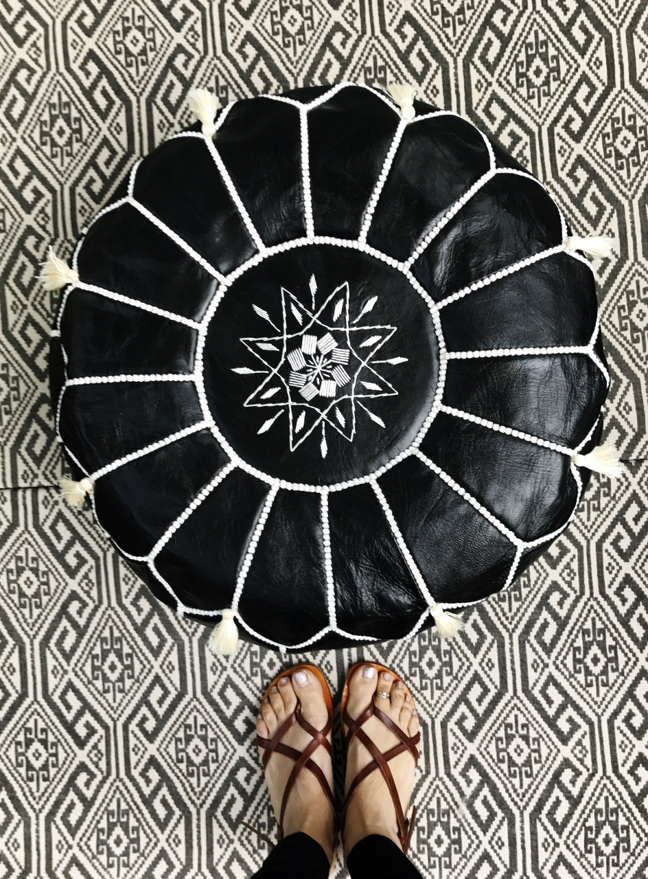 30 OFF WINTER SALE Black with White Stitching Moroccan Leather Pouf with Tassels  Pompoms  for Home gifts wedding giftsbirthday gift