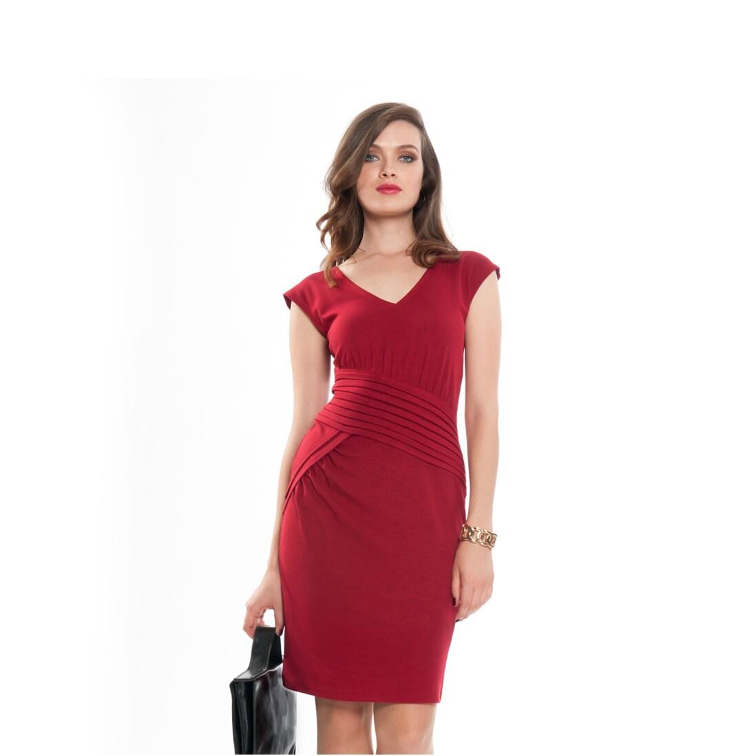 Red Dress  V neck - ASSAFPELLEG