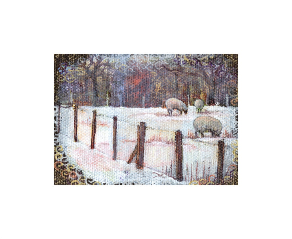 ACEO Winter Sheep painting day 313, Snow Landscape, sheep art  Original Art ACEO. Acrylic on Canvas, 7th February 2014, miniature sheep art. - TheArtBoat