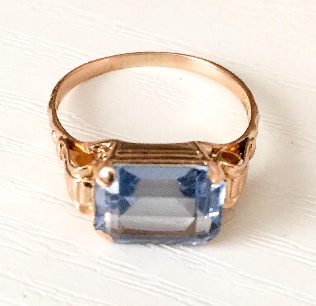 Aquamarine Ring 18K Gold German Art Deco Vintage Jewelry
