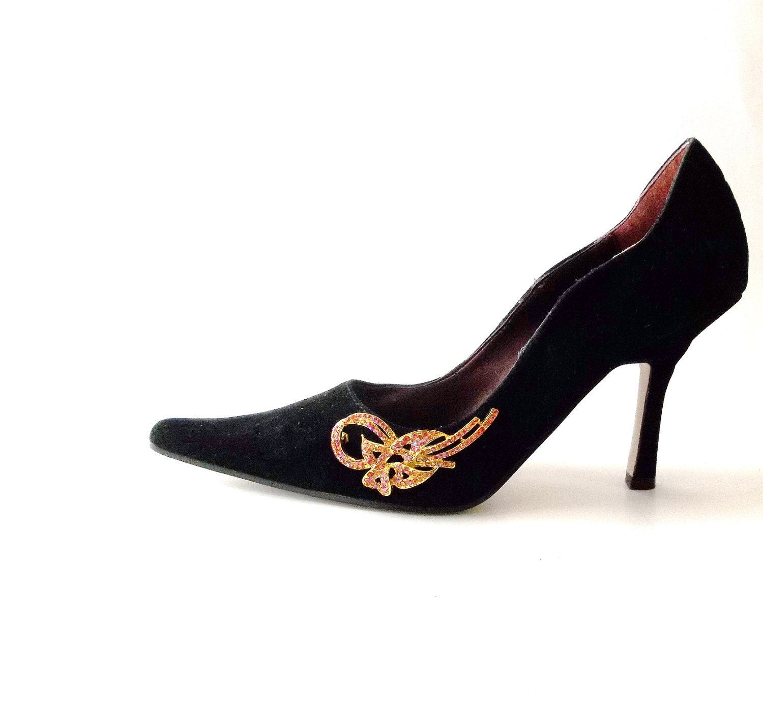 Vintage Black Suede High Heels Pumps. Shoe Clips.Honey Gold Bows. Holiday Sparkle. Size 6.5 - GLAMOURGIRLCHIC