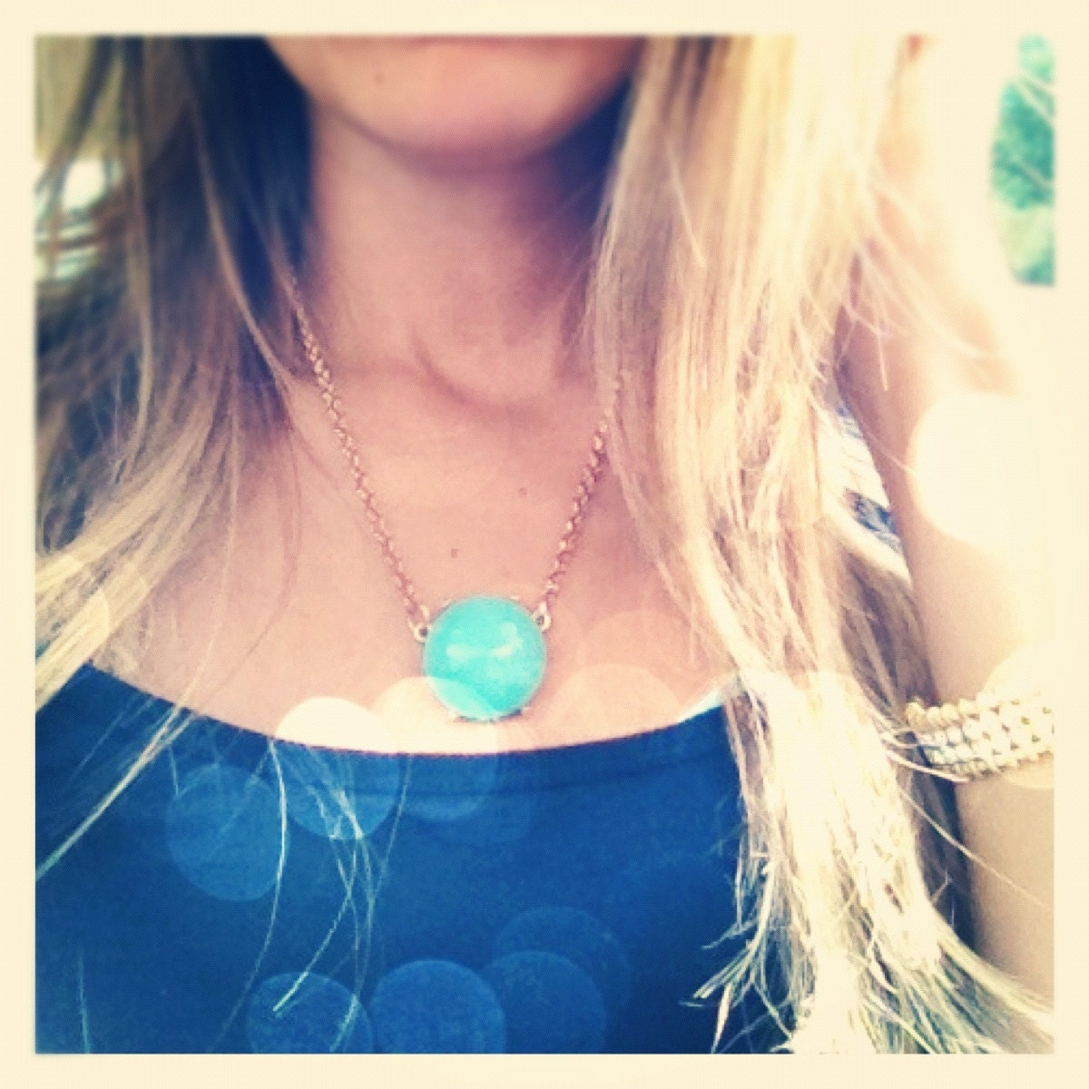 Turquoise Single Drop Bubble Pendant