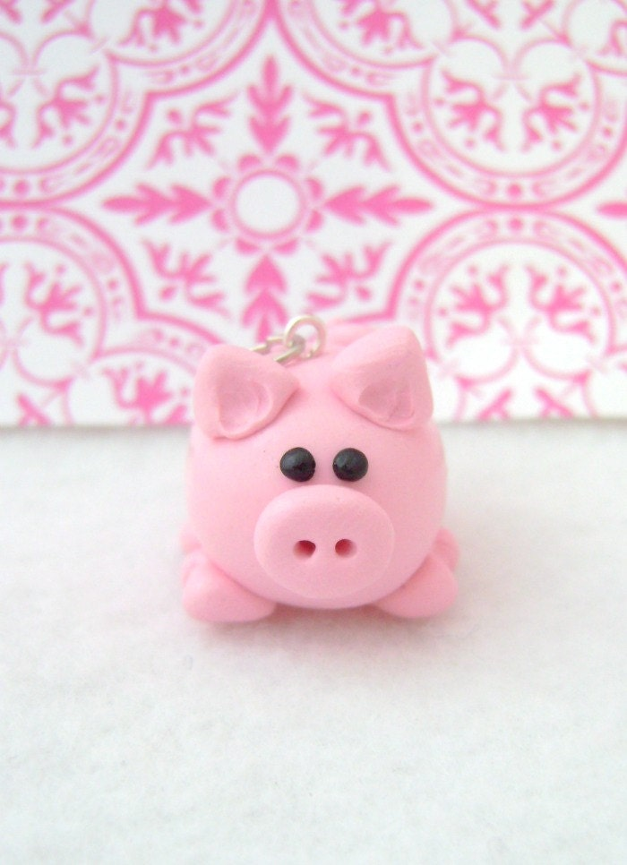 Little Pink Pig Ornament. Polymer Clay