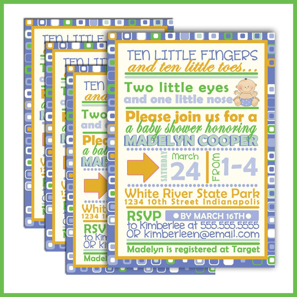 fingers and toes baby boy baby shower invitation by lullabyloo