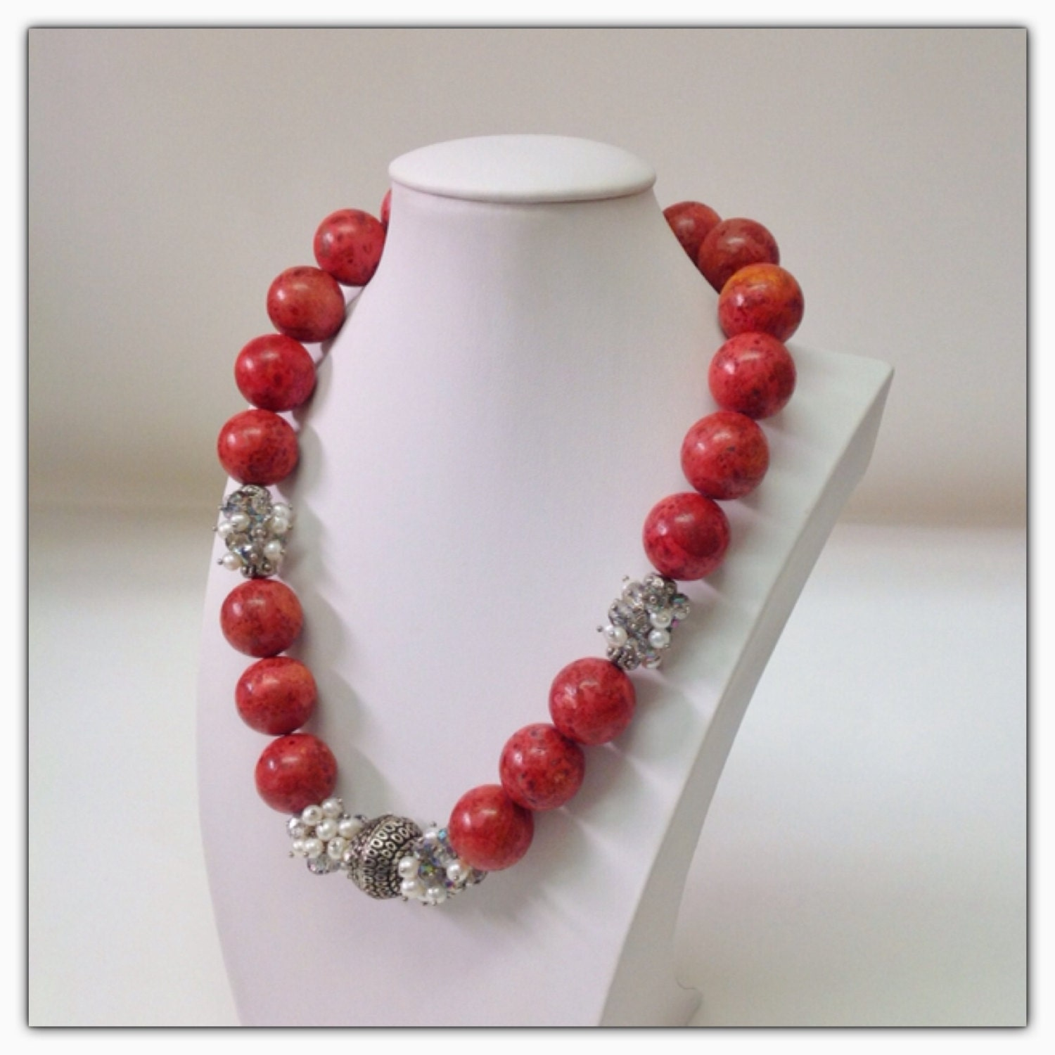 items similar to coral crystals pearls statement necklace