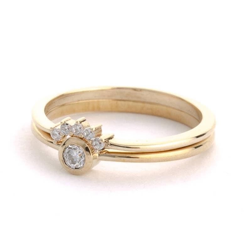 Solitaire Diamond Ring Wedding Ring Set Diamond Engagement Ring Crescent Diamond Ring White Diamond Wedding Ring