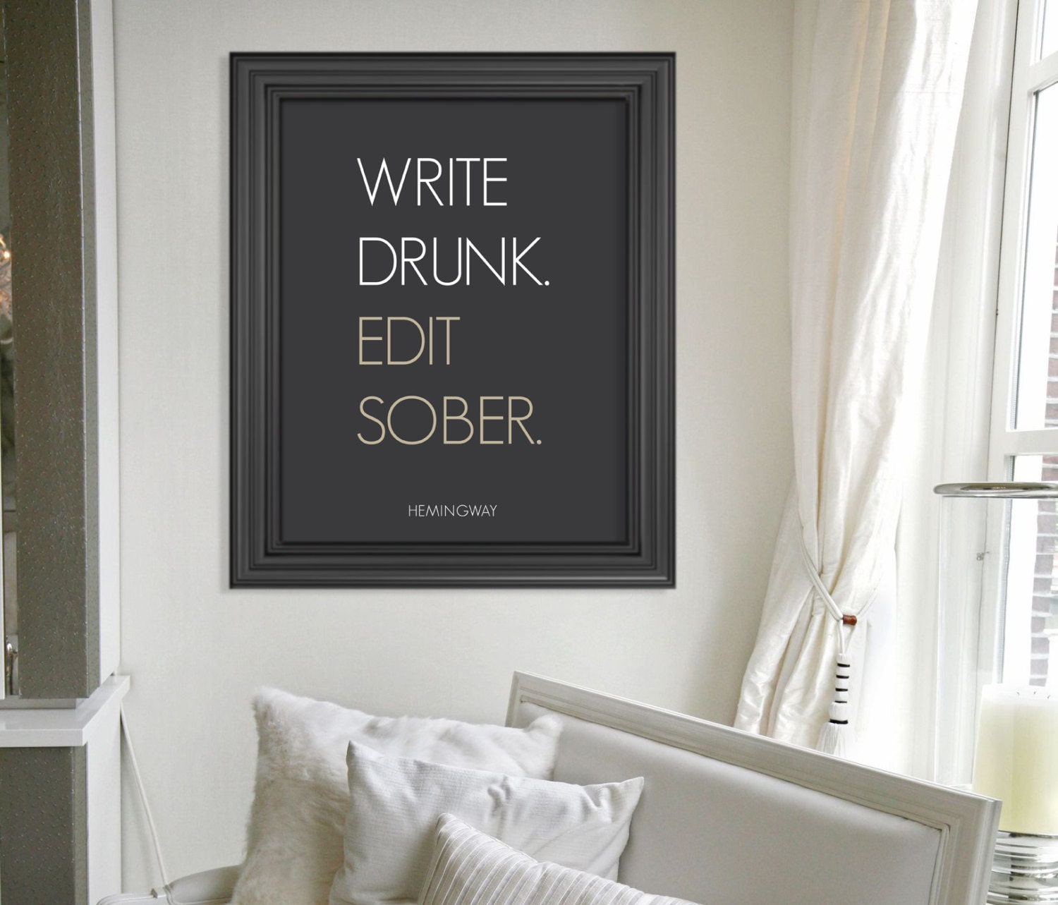 Write Drunk Edit Sober Ernest Hemingway Quote Art Print // Typographical Poster // Modern Dorm Room Decor - HARVEYGREY