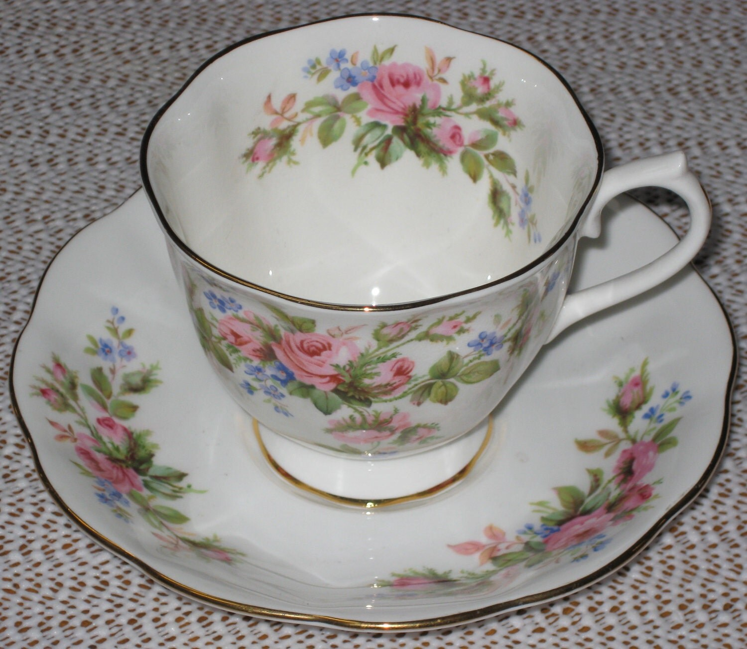 "Royal Albert ""Moss Rose"" Teacup and Saucer - Newer Hampton Shape - JosChinaShop"
