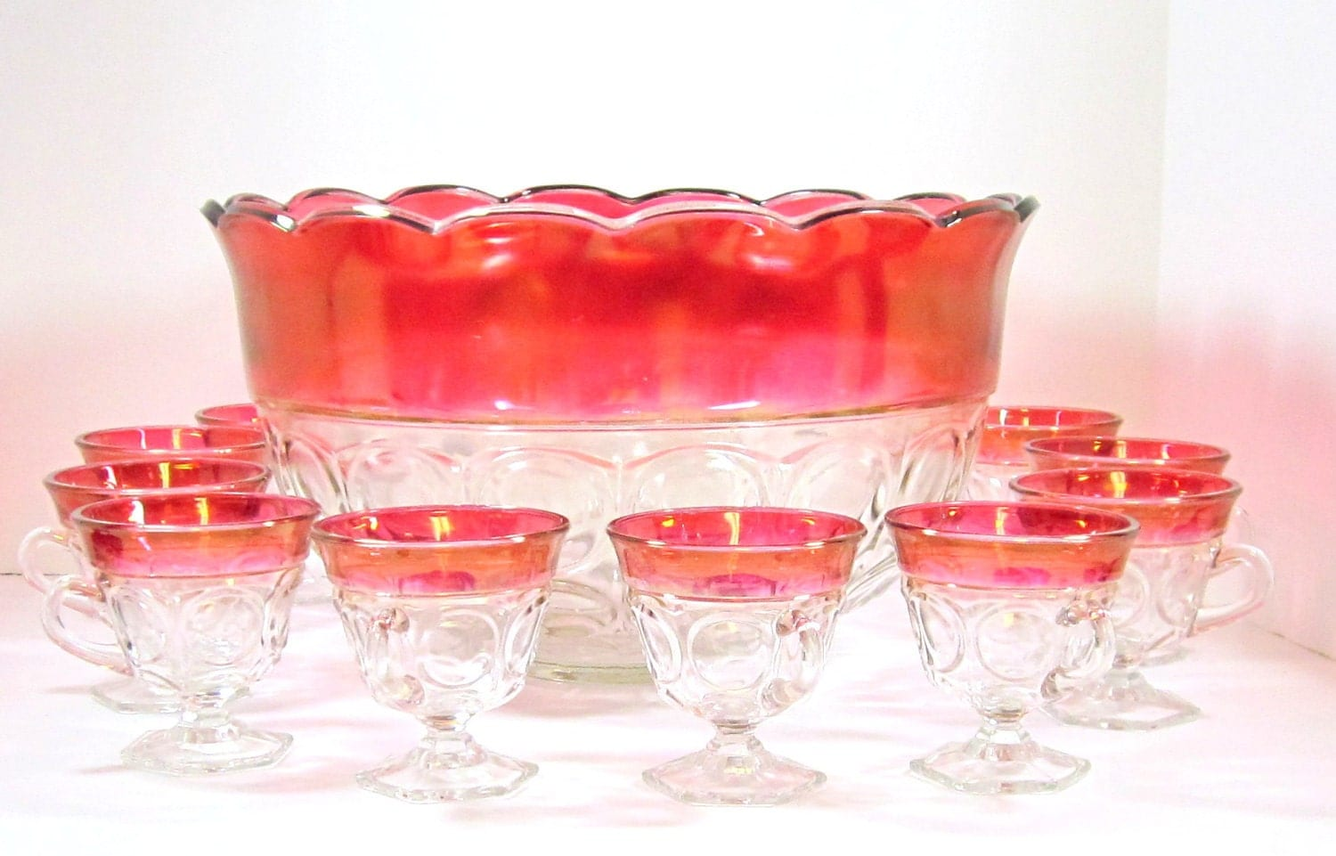 Indiana Glass Cranberry Fired Punch Bowl By