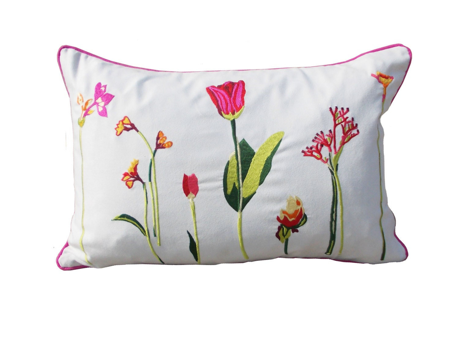 Polysuede pillow cover bright colour floral pattern embroidered pillow case oblong - VLiving