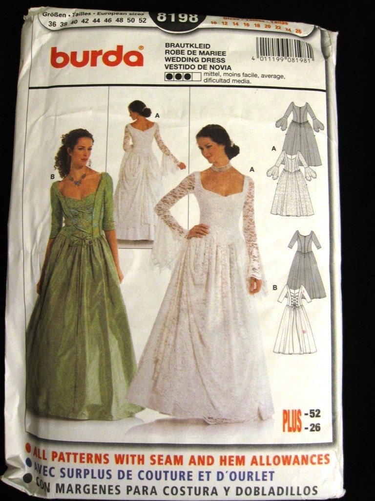 Ladies Burda Pattern 8198 - Victorian Themed Wedding Dress or Ball Gown - Size 10-26