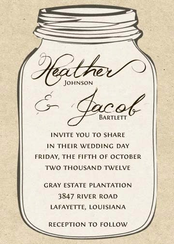 PRINTABLE Kraft Mason Jar Wedding Invitation - 5x7- you choose colors ...