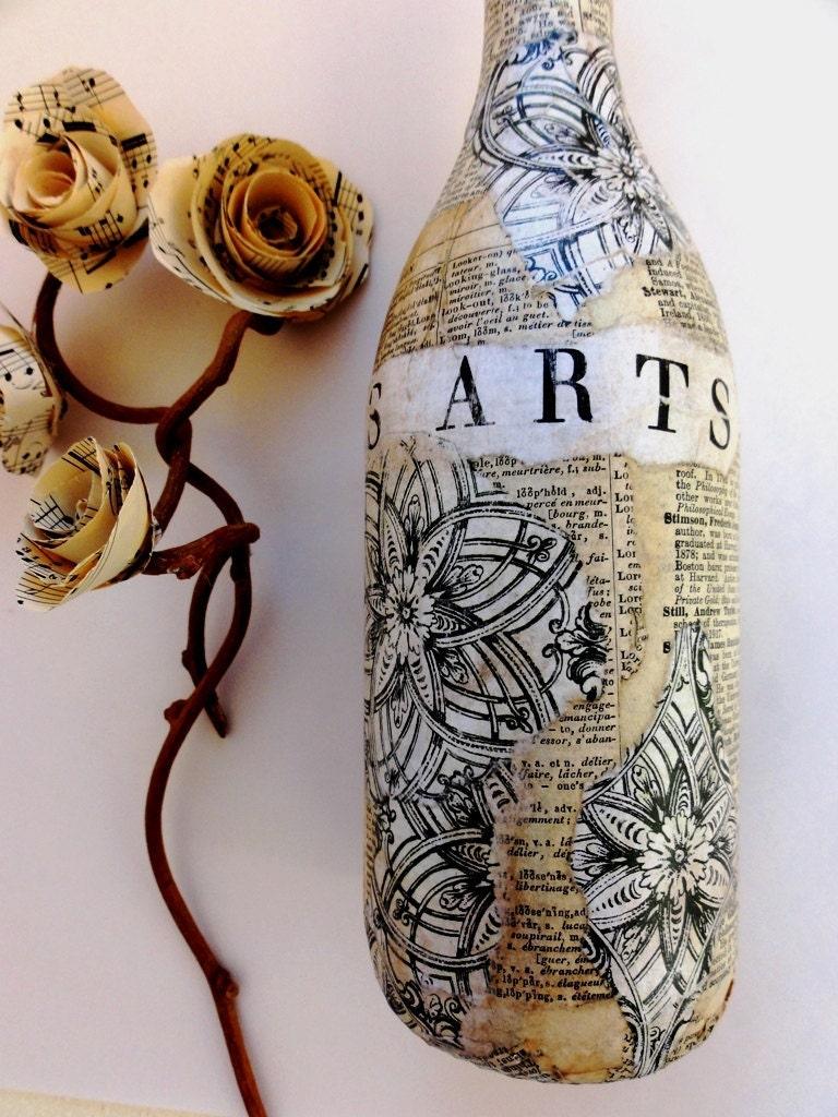Джоли-Les Arts-Vintage бутылки с Mix старинных книг Страницы-французских слов и конструкций, функциональные, Декор товара