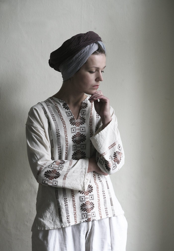 White Ornamented south western folk style Blouse - MagpiesShop