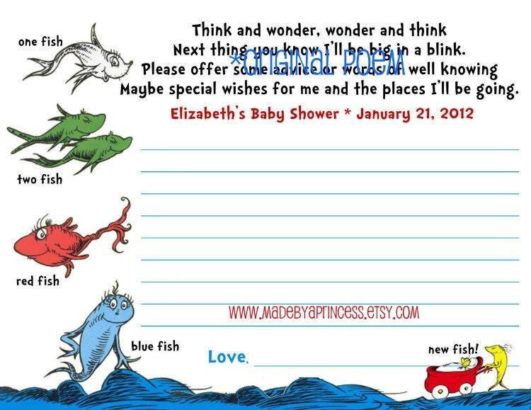 Items Similar To Dr Seuss Inspired Advice Cards Baby Shower Game Printable ORIGINAL POEM On Etsy