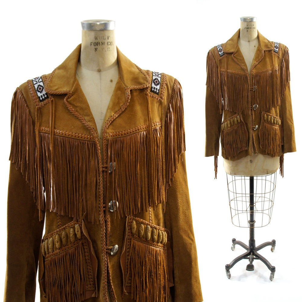 Flannel Motorcycle Jacket >> Native American Fringed & Beaded Suede Jacket by SpunkVintage