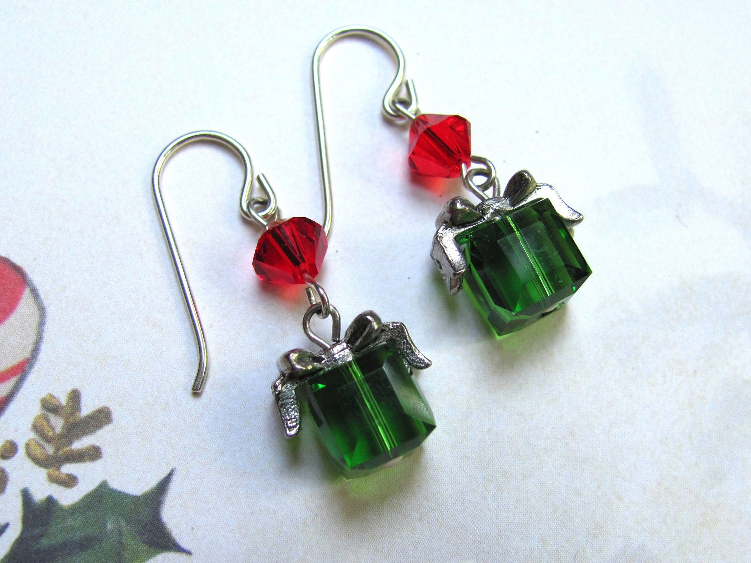 Holiday Present Earrings - Holiday Earrings Swarovski Crystals Pewter Bow Sterling Silver