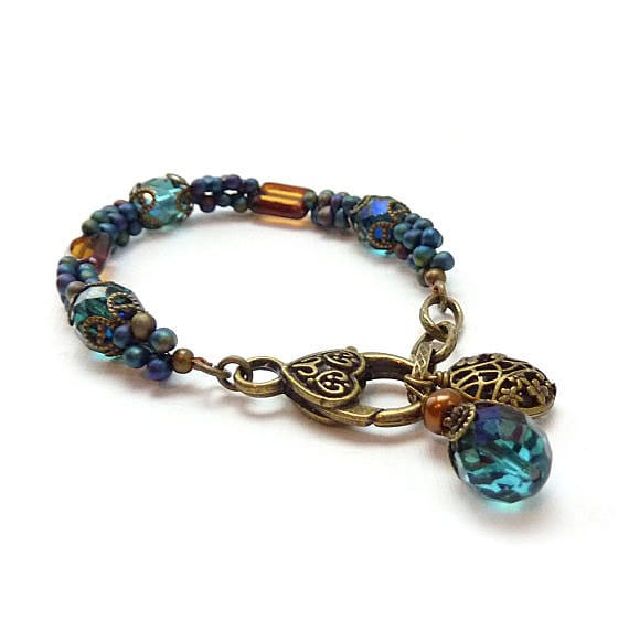 Blue Charm Bracelet, Beaded Bracelet, Teal Cobalt Blue, Picasso Czech Glass, Bronze Filigree, Bohemian Style Jewelry - RockStoneTreasures