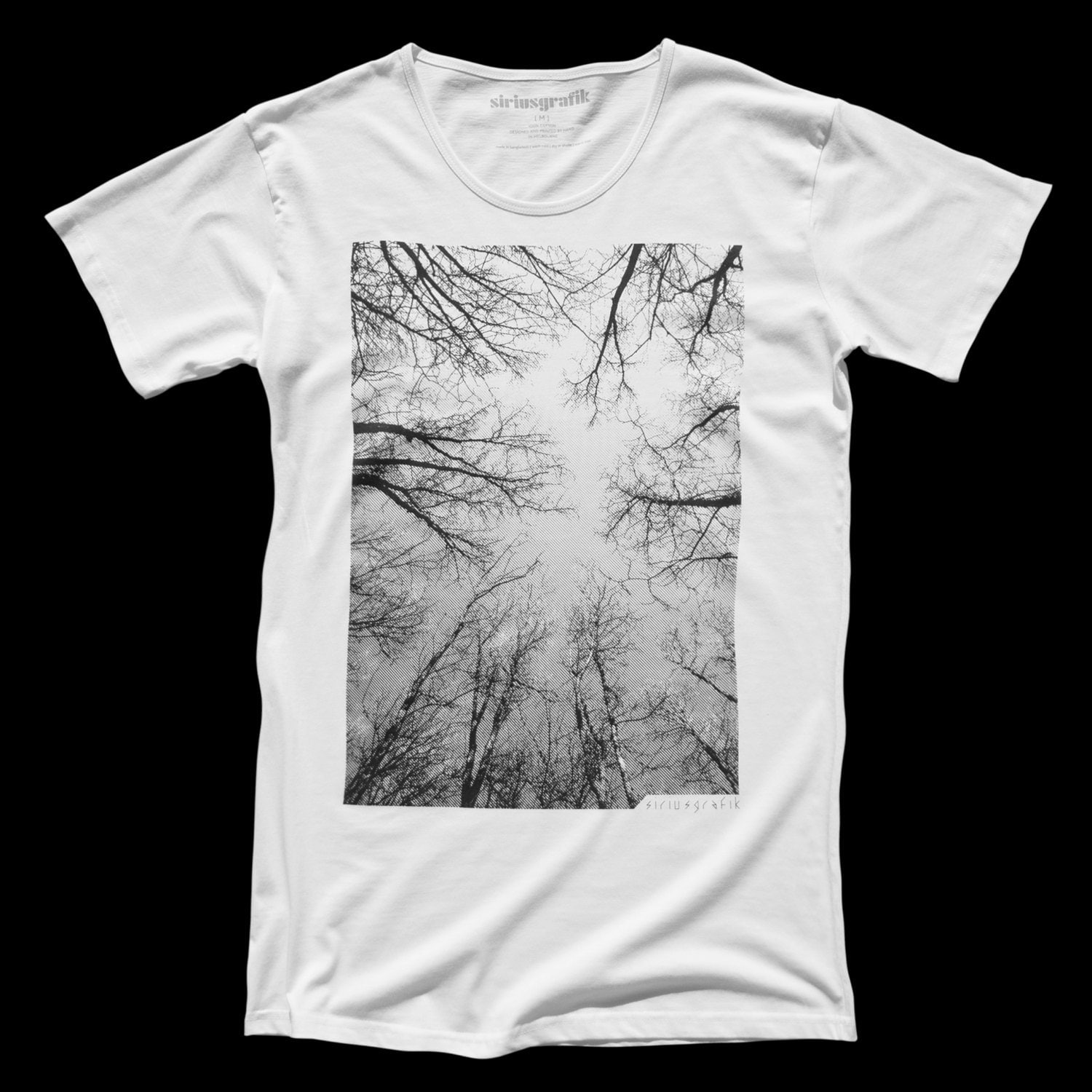 Mens Tshirts Tree Tee THE FOREST Hand Pulled Screen Print on White Mens Scoop Neck Tee size S, M, L - Free Shipping - - SiriusGrafik