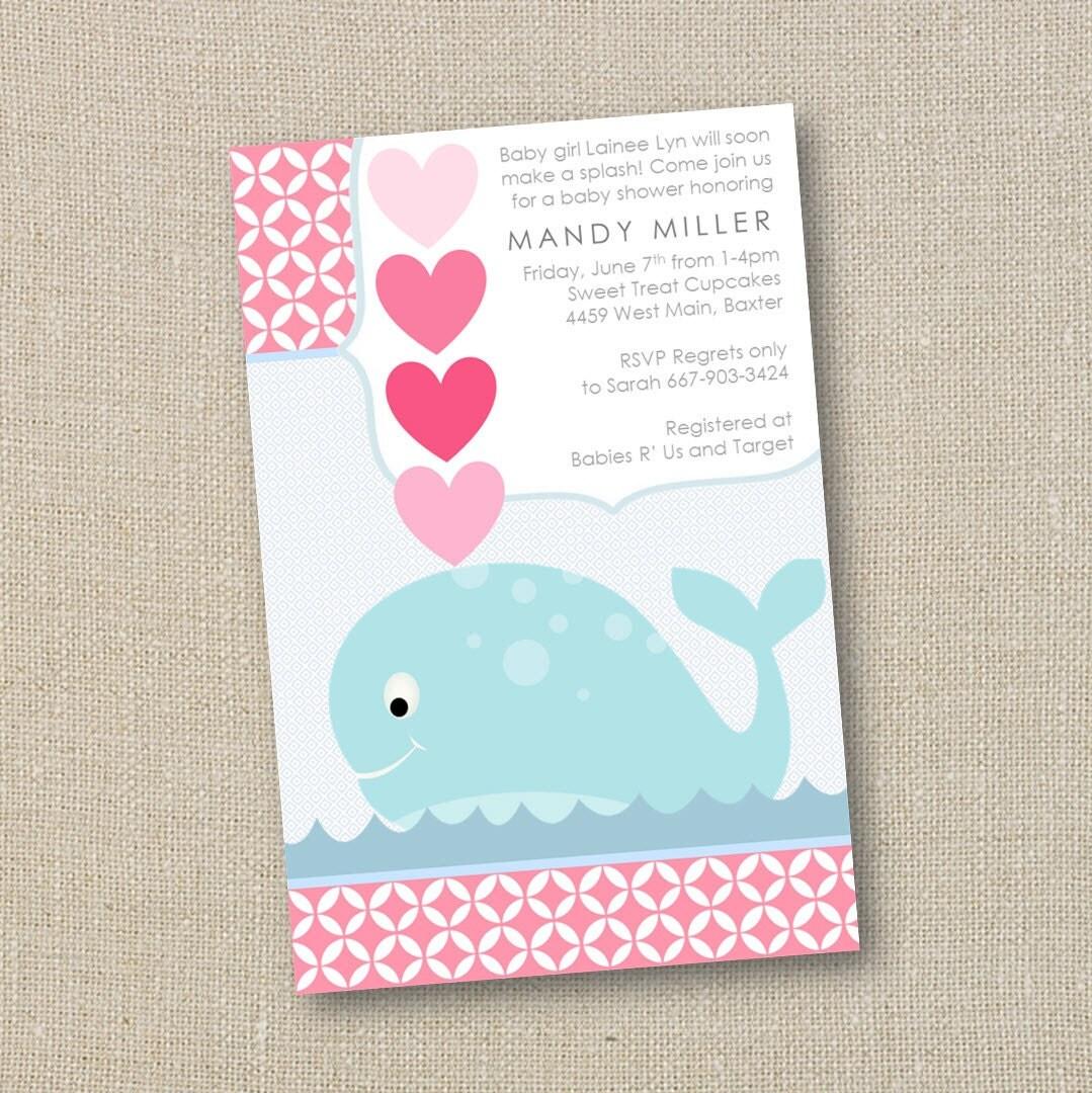 whale baby shower invitation girl a splash of love digital printable