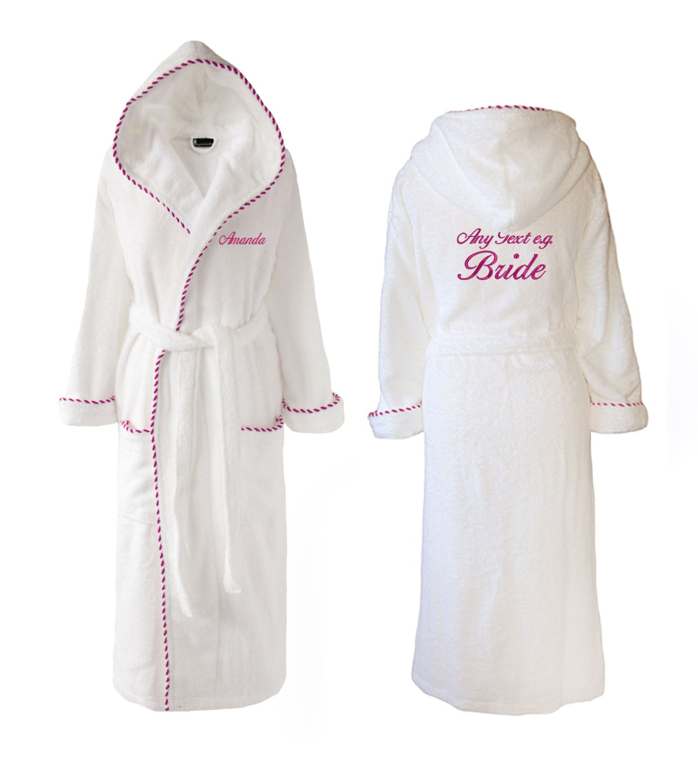 Personalised Wedding Towelling Dressing Gown Hooded Towelling Dressing Gown White with Pink trim Gift for Her Mum Bride