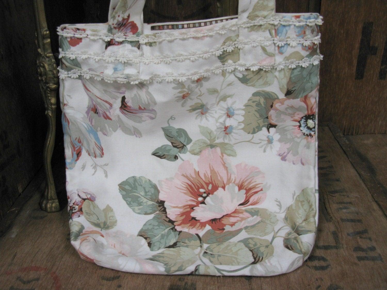 Floral Bag Hand Made Bag Vintage Bag Vintage Purse Vintage Handbag Fabric Book Bag Small Bag Bag With Handles Vintage Floral Bag