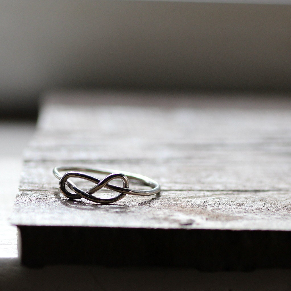 Infinity Knot Ring Stocking Stuffer Rustic Sterling Infinity Ring  Sister Ring - tinahdee
