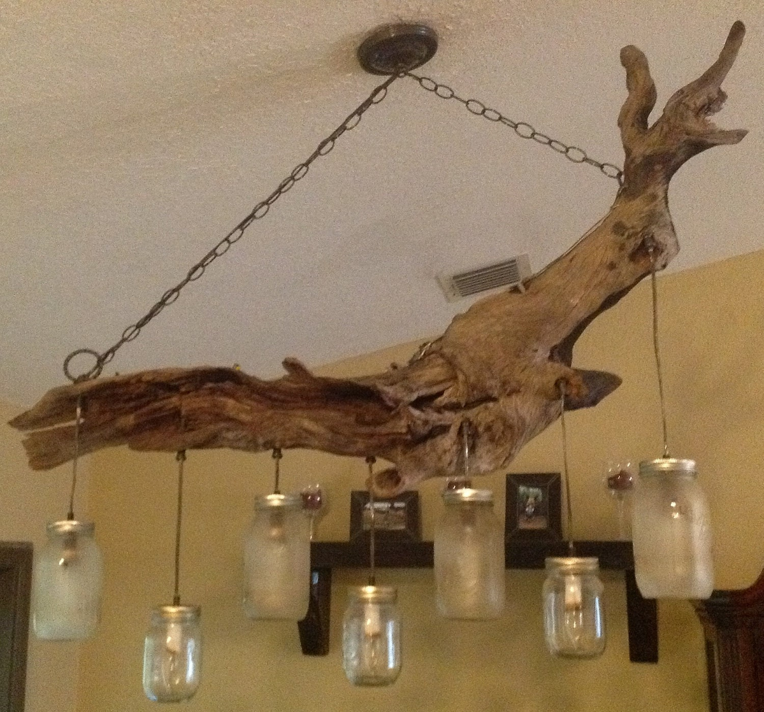 Items similar to driftwood mason jar chandelier on etsy - Build a chandelier ...