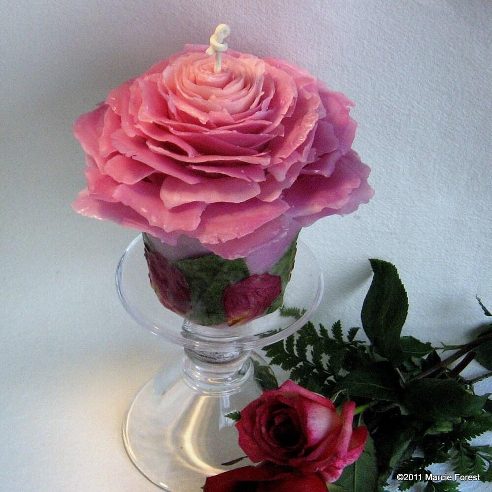 Фиолетовый Розовый сад компонент - Подарки, Свадьба, День благодарения, Рождество - Чистый пчелиный воск, лепестками роз - Eco Chic Роза Свечи от Марси Лесная