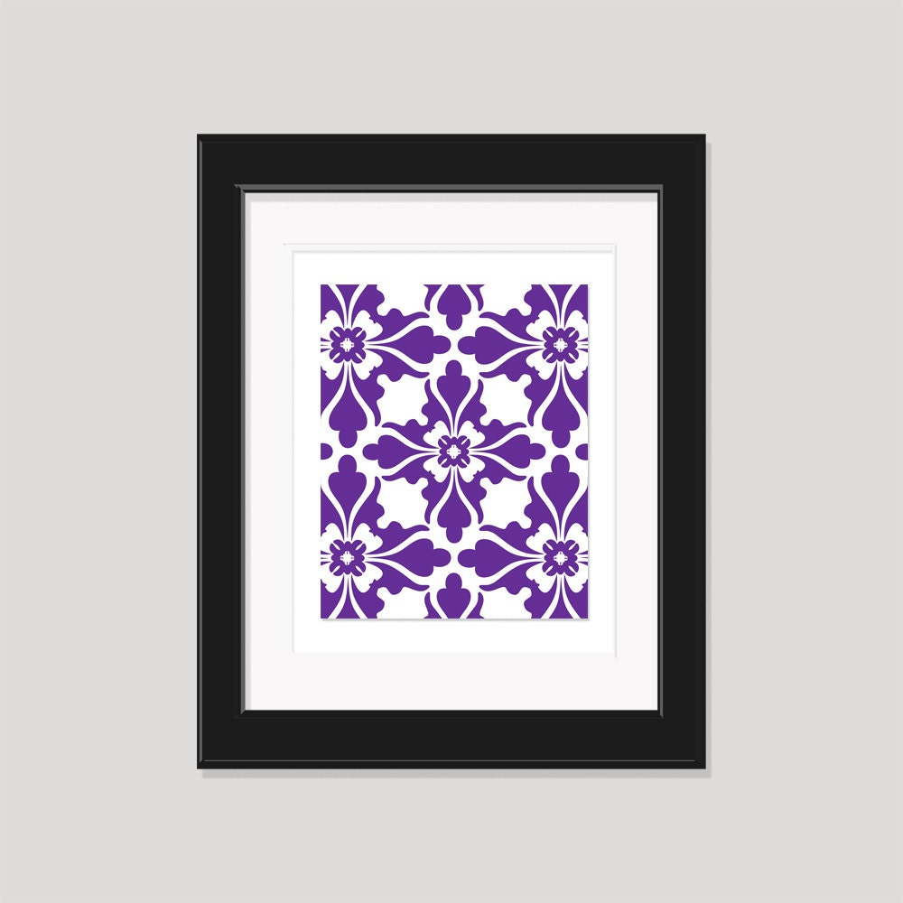 Modern art print purple white art geometric pattern for Purple dining room wall art