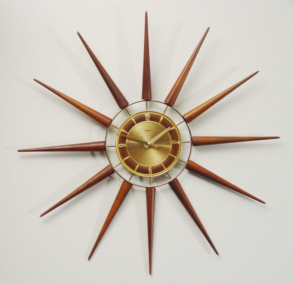 starburst modern wall clock mid century modern by clubmoderne