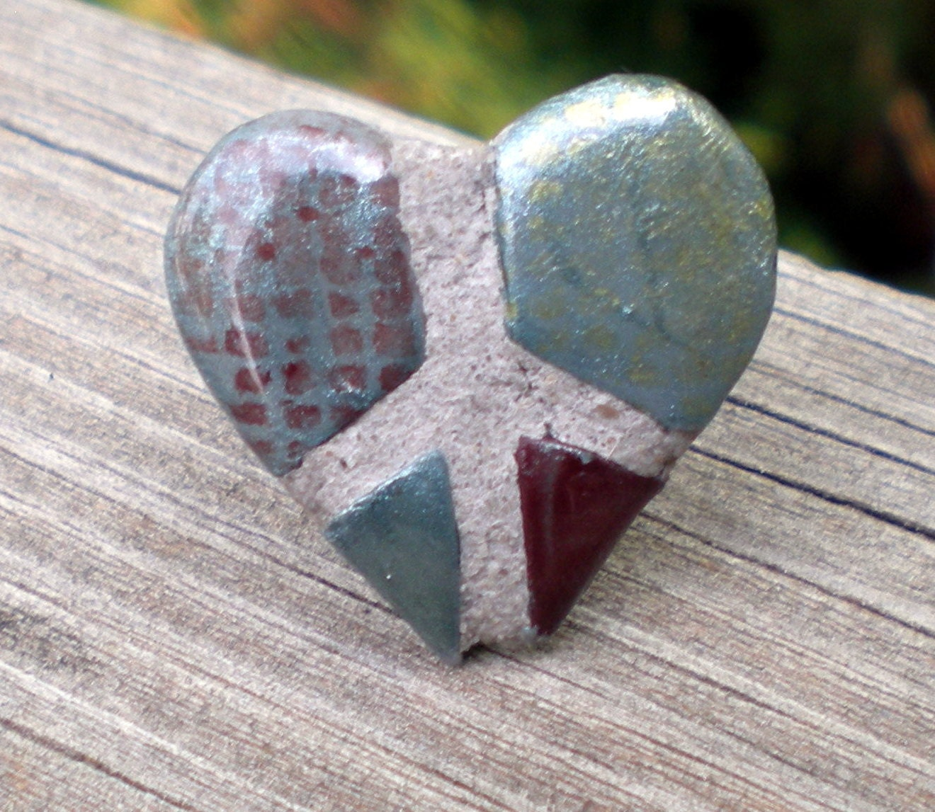 Peace Sign Heart Ring Adjustable Band Maroon Teal