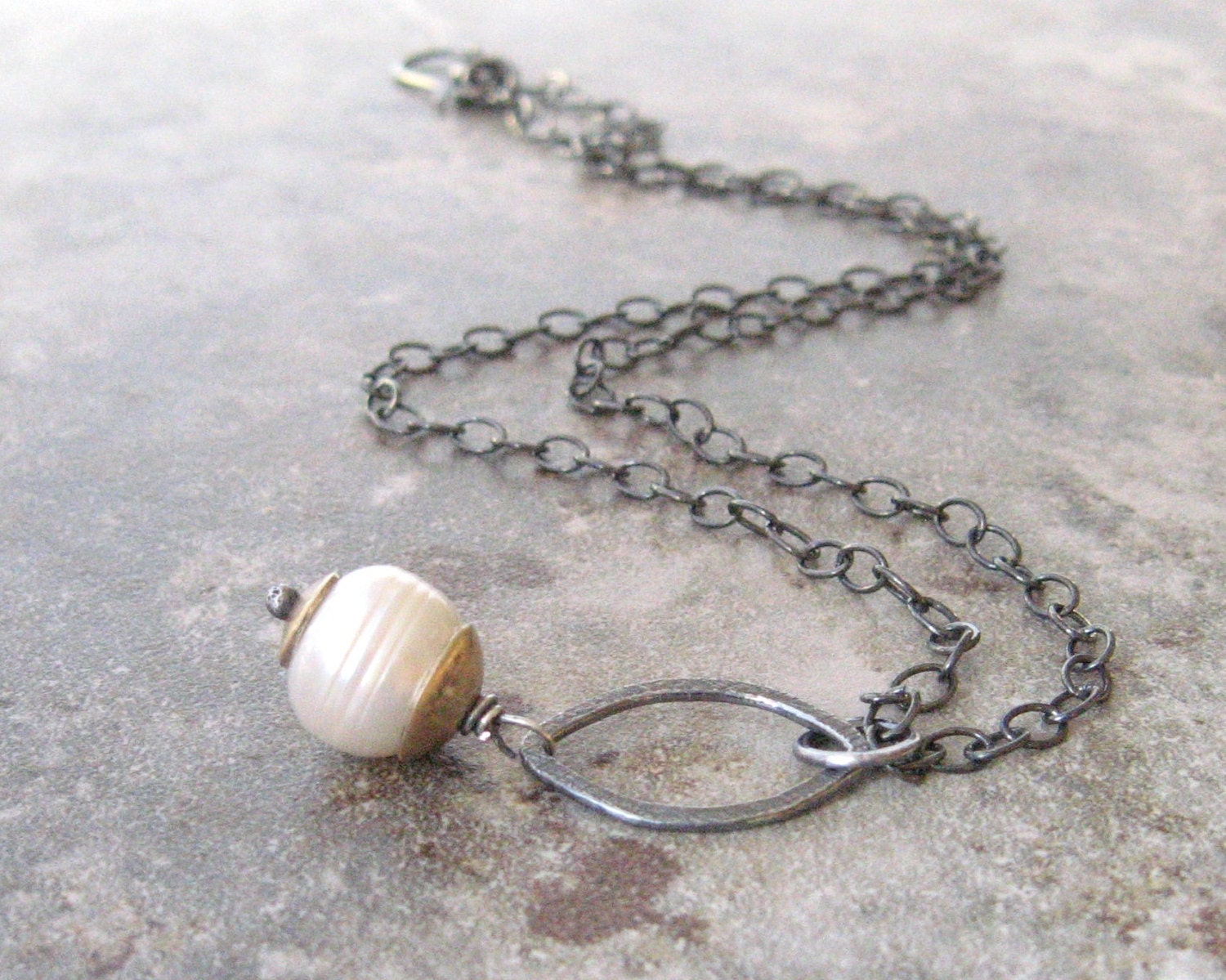 white pearl and silver pendant, rustic pendant necklace
