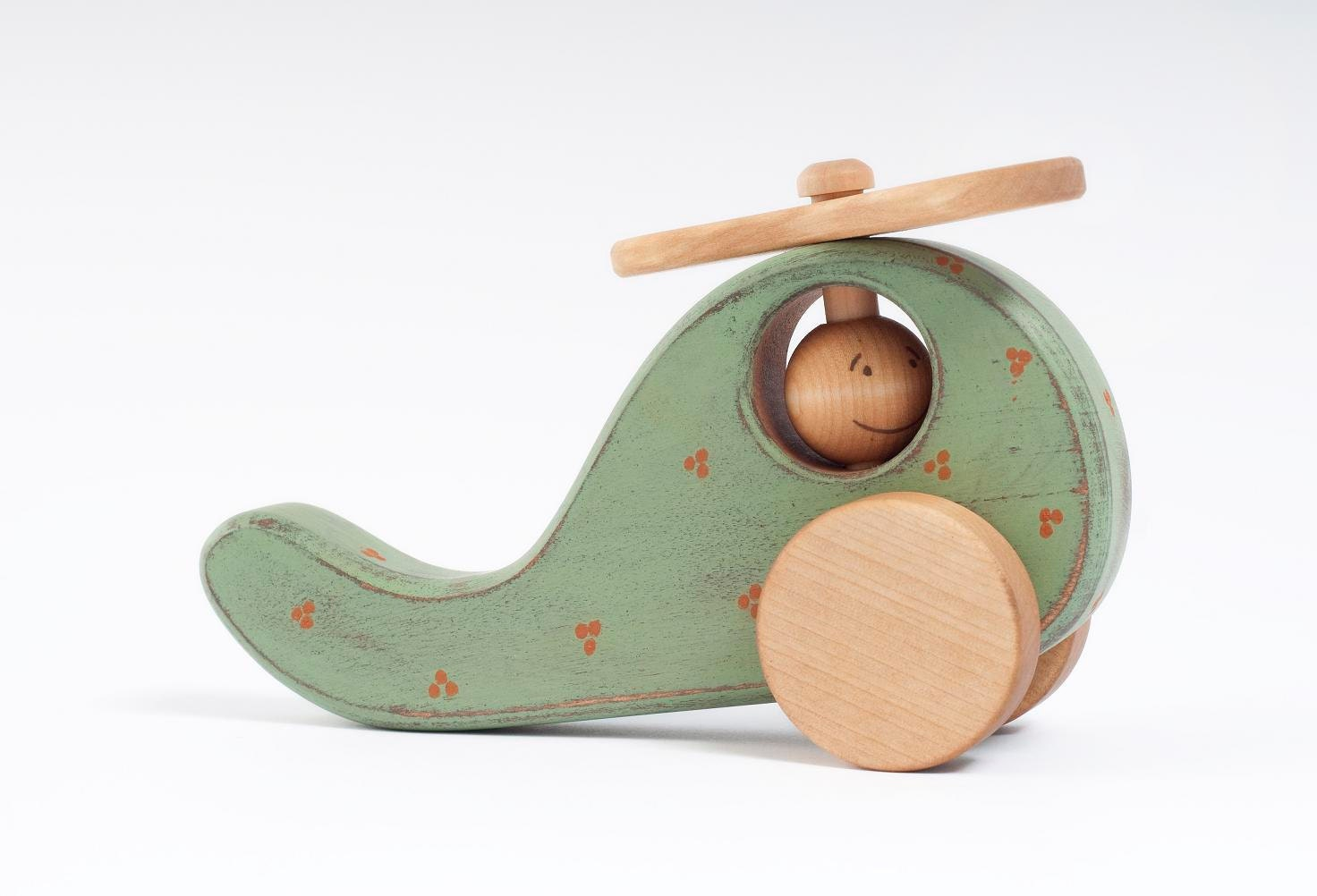 Wooden Toy mint green Helicopter, eco-friendly kid toy - FriendlyToys