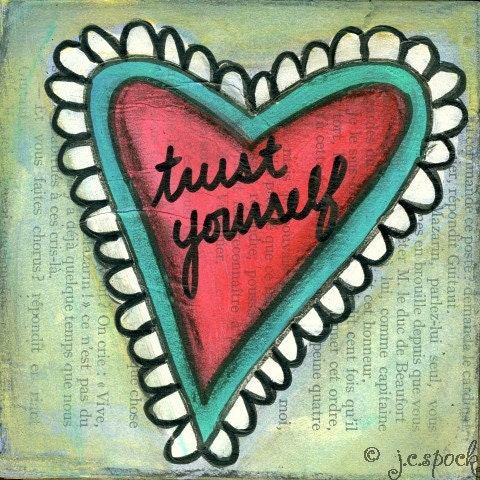 Original Art Painting: Trust Yourself Heart - 4x4 Original Mixed Media Painting, Folk Art Painting, Whimsical Art, Heart Art - blue, pink