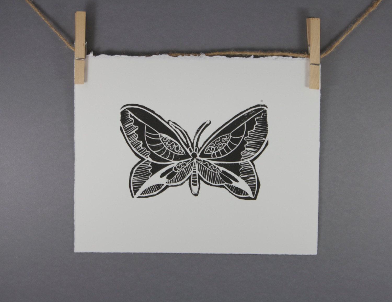 Summer Butterfly Linocut Art Print  8x10 Printmaking - RetroModernArt