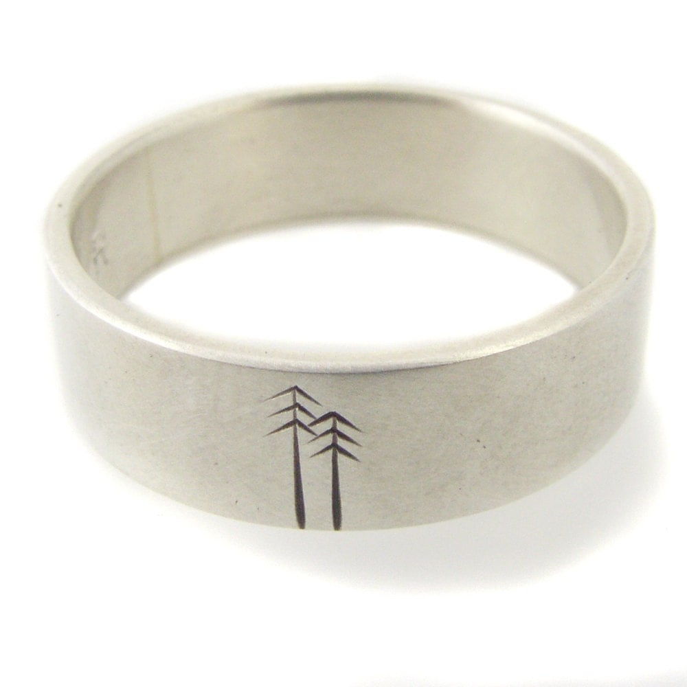 Wedding Band Sterling Silver Woodland Design Men's or Women's Wedding ...