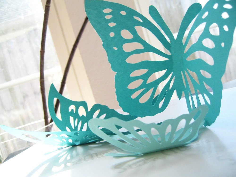 15 3D Paper Butterflies Aqua Blue TurquoisePaper Wall Decor