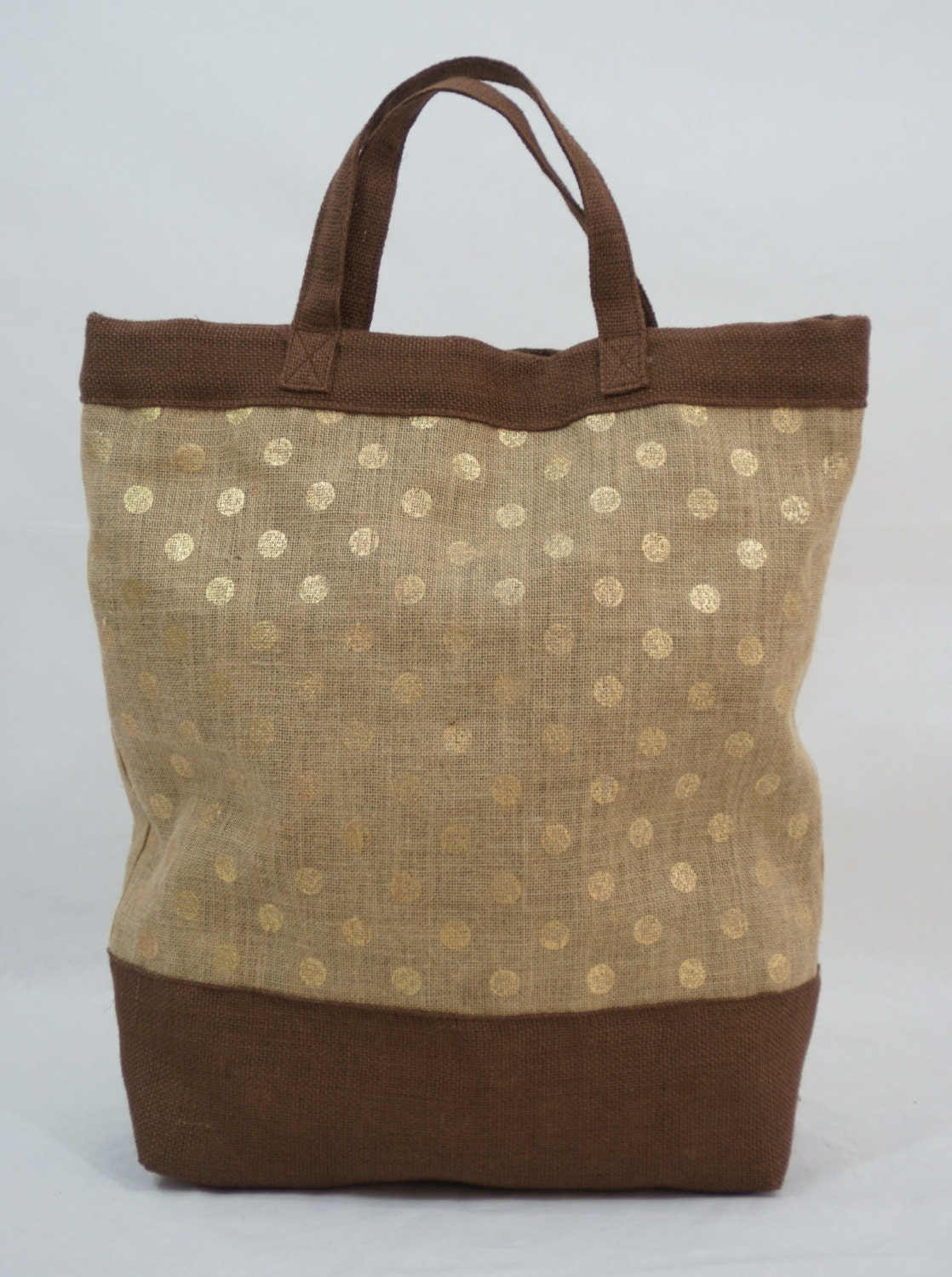 Extra Large/Over Sized Natural Jute Tote with Gold Polka Dot Print and Brown Jute Bottom