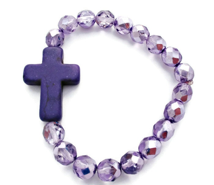 Crystal Purple Cross Bracelet - cieloturquesa